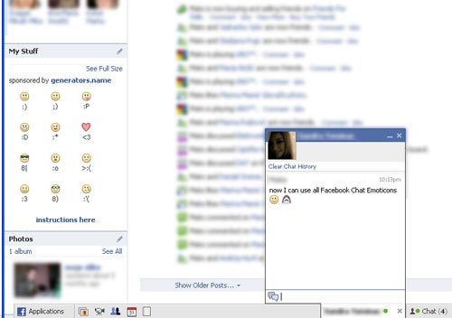 Facebook Chat emoticons on profile page