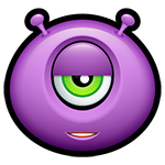 Purple Alien Argh Facebook Emoticon