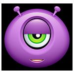 Purple Alien Argh Facebook Emoticon