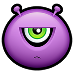 Irritated Purple Alien Facebook Emoticon