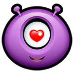 Facebook Purple Alien Love Emoticon
