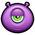 Purple Alien Meh Facebook Chat Emoticon