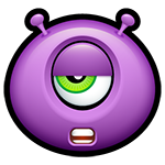 Mumbles Purple Alien Emoticon