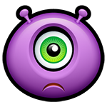 Sad Purple Alien Facebook Emoticon