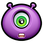 Facebook Shocked Purple Alien Chat Emoticon