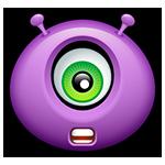 Facebook Shocked Purple Alien Chat Emoticon