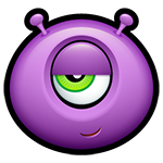 Sly Purple Alien Facebook Emoticon