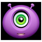 Teethy Grin Purple Alien Emoticon