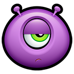 Unimpressed Purple Alien Facebook Emoticon