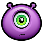 Upset Purple Alien Facebook Chat Emoticon