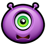Facebook Worried Purple Alien Chat Emoticon